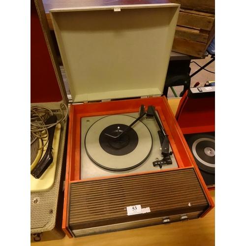 53 - Retro Fidelity orange record player...