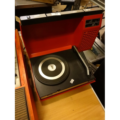 54 - Philips portable red record player spares or repair...