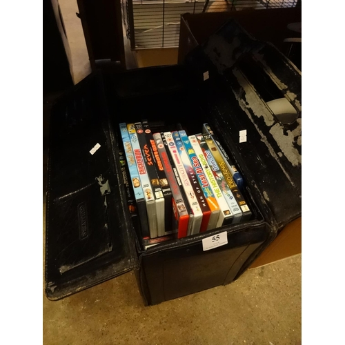 55 - Case containing approximately 50+ cds and 14 DVDs...