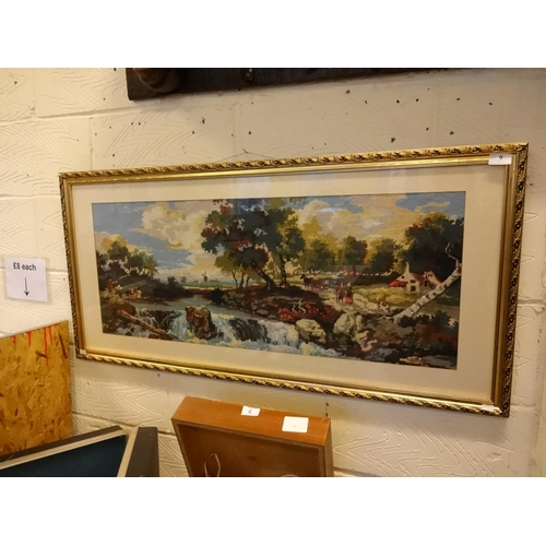9 - Large tapestry water scene framed behind glass 120cm x 55cm approximately...