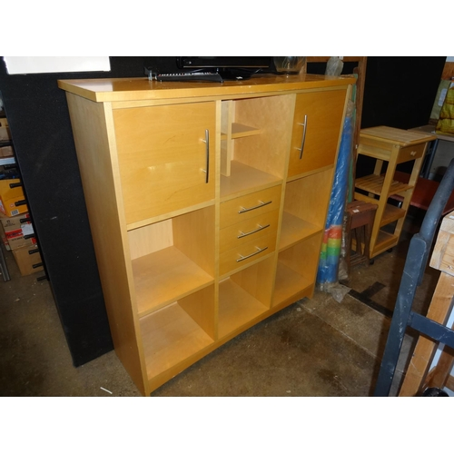 1 - Beech style set of drawers and cupboards 109cm W x 35cm D x 118cm H...