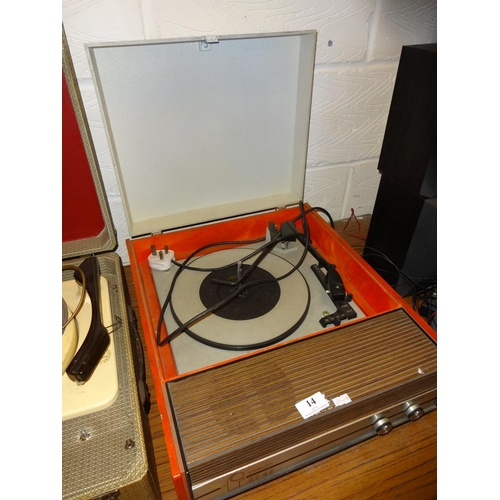 14 - Retro Fidelity orange record player...