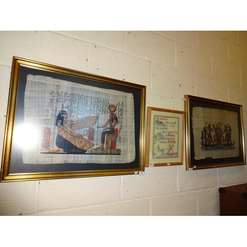 15 - 2x Framed Egyptian style parchment/picture plus small sampler...