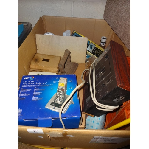 17 - Large cardboard box containing various household items, coffee cups, wall wotnot, vintage flat iron ...