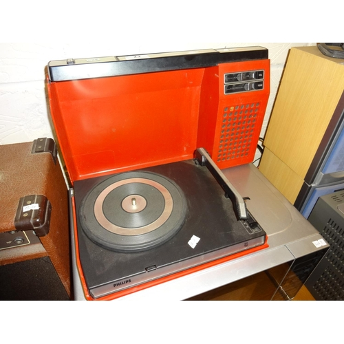 23 - Philips portable red record player spares or repair...