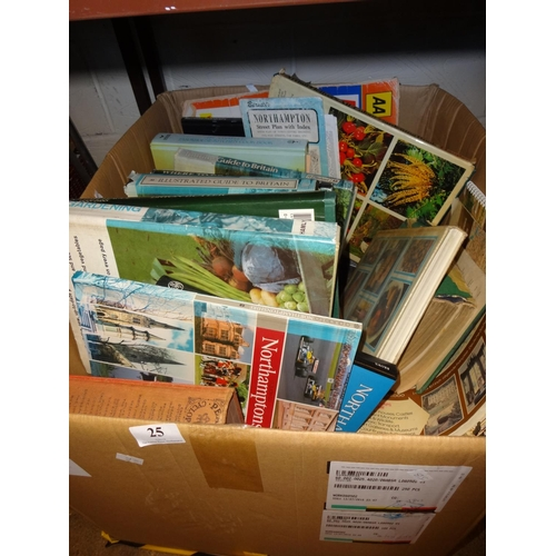 25 - Large box of vintage and modern books includes Pears cyclopaedia Northampton books and more...