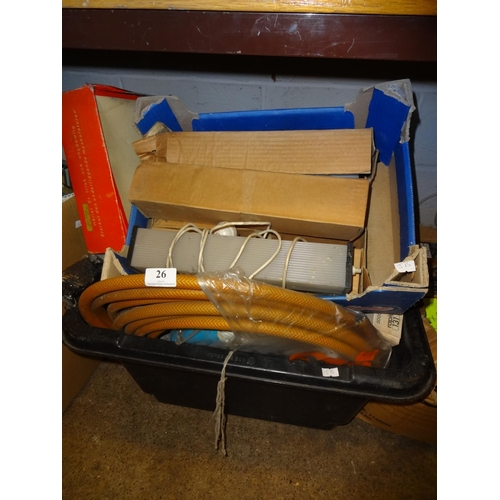 26 - Box containing vintage tools, heater, 1 mixer and other items...