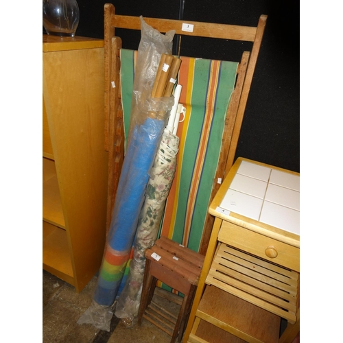 3 - Vintage wooden and canvas striped deck chair set plus others...