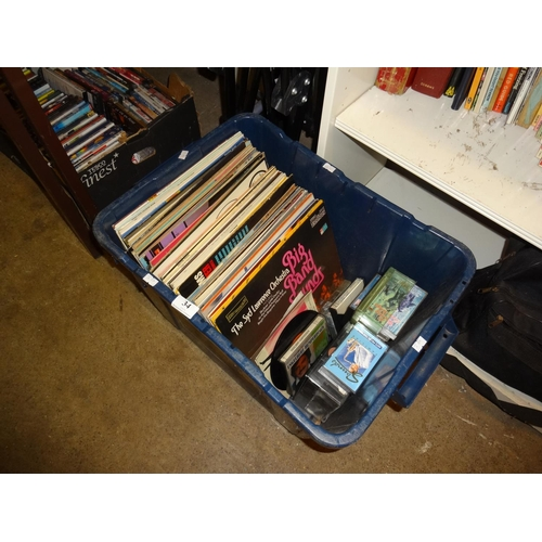 34 - Quantity of Lp records in blue box approximately 70 Lps and cassettes...