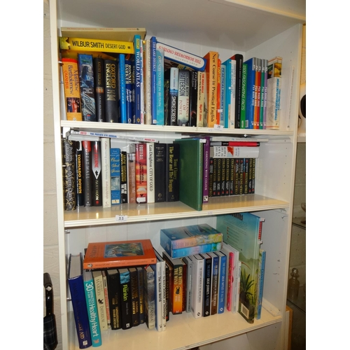 35 - 3x Shelves of books, mostly hard back and novels plus others over 100...