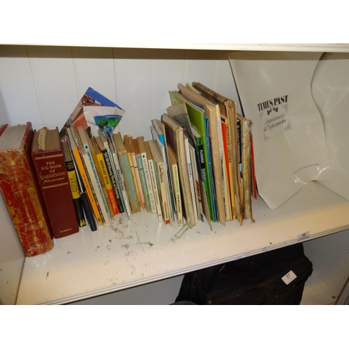 36 - Shelf of vintage books, maps and magazines includes a bible dated 1832...