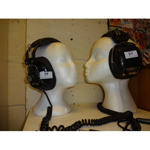 39 - Vintage Japanese mono stereo dynamic headphones AM-3800D model plus vintage pair of Audiotronic head...