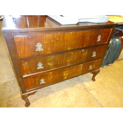 41 - Mahogany three drawer chest 88cm W x 48cm D x 74cm H...