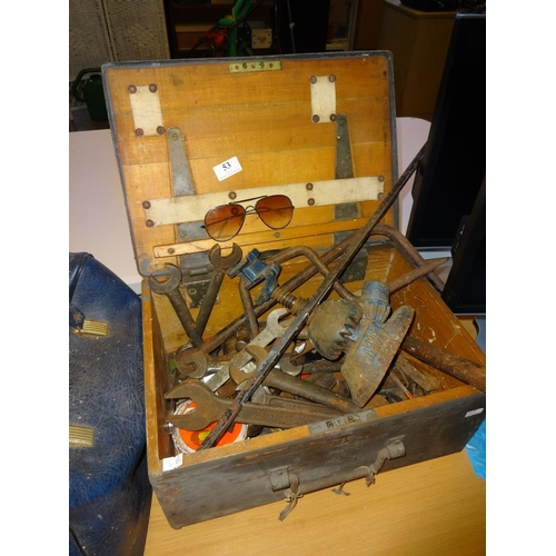 53 - Vintage wooden tool box containing vintage large imperial spanners and other vintage tools...