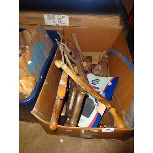 56 - Large cardboard box of vintage wood workers tools includes wood saws, bow saw, wood chisels, drills ...