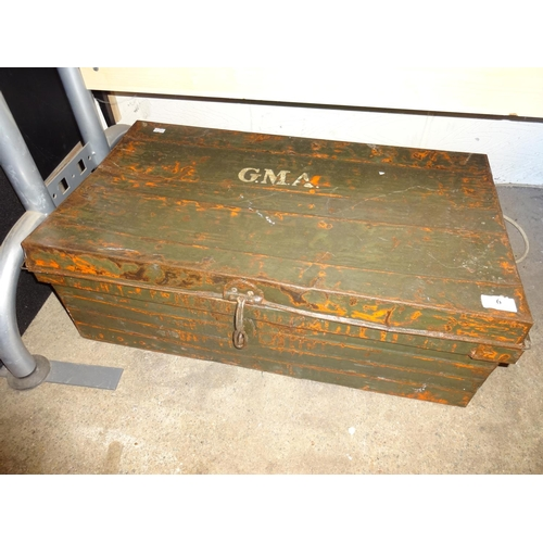 6 - Metal military trunk 69cm x 38cm...