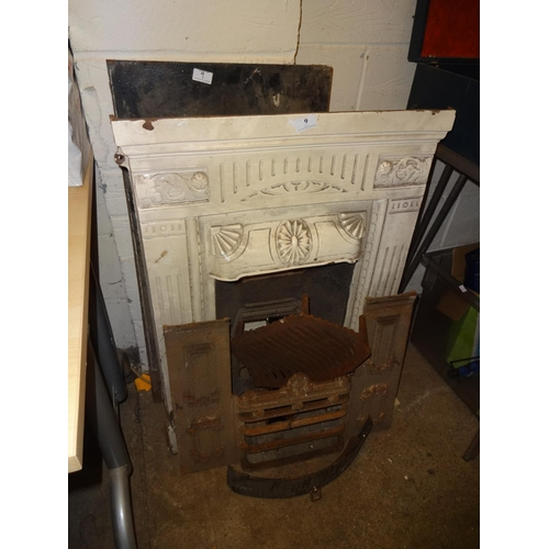 9 - Victorian/Edwardian cast iron fire surround and other parts to fires from local pub...