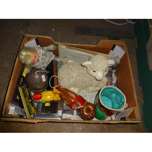 13 - Box of odds including toys and sheep...