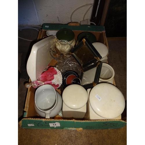14 - Box of kitchen items Kernewek wood and son, Pallisy ware...