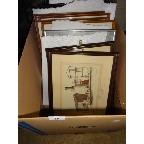 15 - Box containing 10x framed prints plus 2 pen and ink drawings...