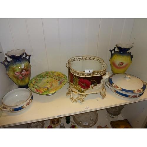 19 - 6 Pieces of vintage/antique crockery includes plant holder vases plus hand painted Grimswade cake st...