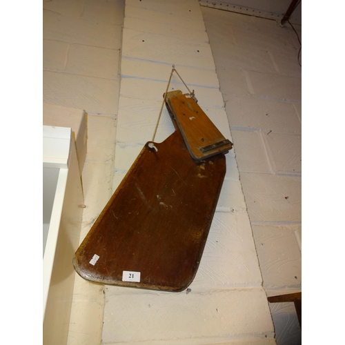 21 - Vintage wooden boat rudder ideal for a wall hanger or to make into a sign...