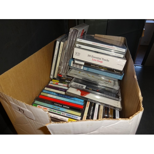 27 - Box of approximately 50 CD's, some still new in wrappers...