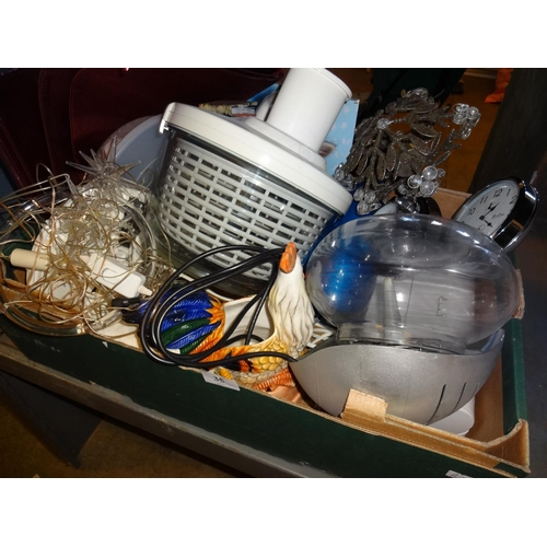 35 - Box of kitchen items including electric slicer, soda syphon, 2 alarm clocks and more...