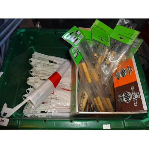 40 - Green plastic box of England flags plus quantity of barbecue tool sets sealed...