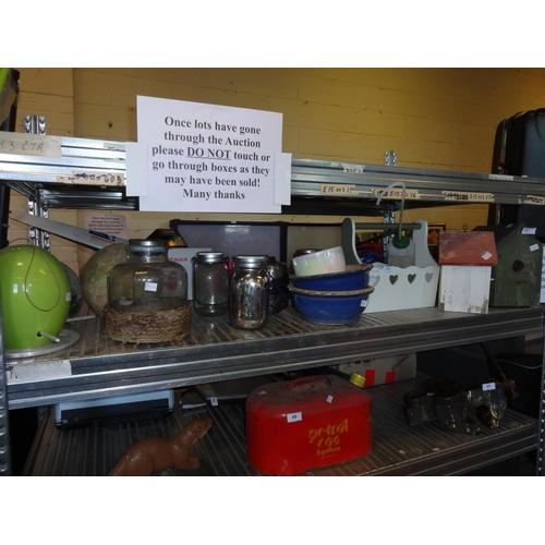 46 - Quantity of garden items including 2x bird houses, bird feeder, jar of solar lights, planters plus o...