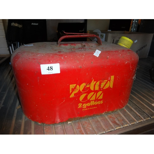 48 - Vintage red metal petroleum spirit fuel can 2 gallons made in Sweden...