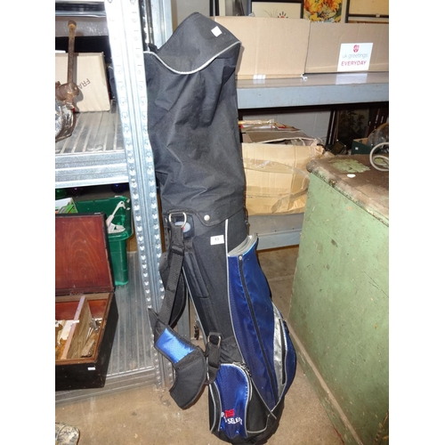 53 - Black bag of pro select golf clubs irons 5-6-7-8-9 plus sand wedge, pitching wedge, ceramic putter a...
