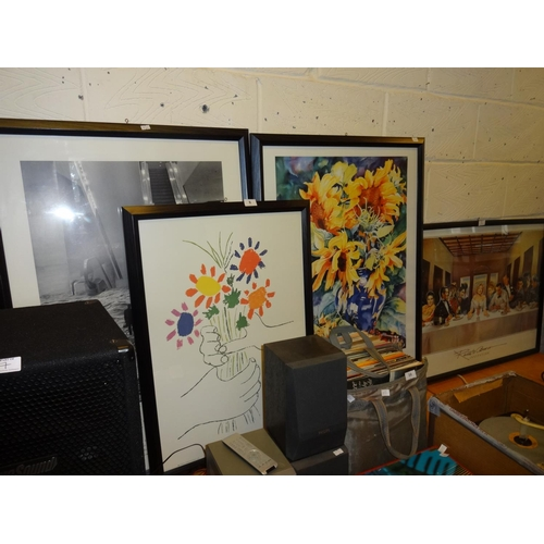 8 - 4x Large black framed prints 3x 96cm x 66cm and the other 78cm x 56cm...