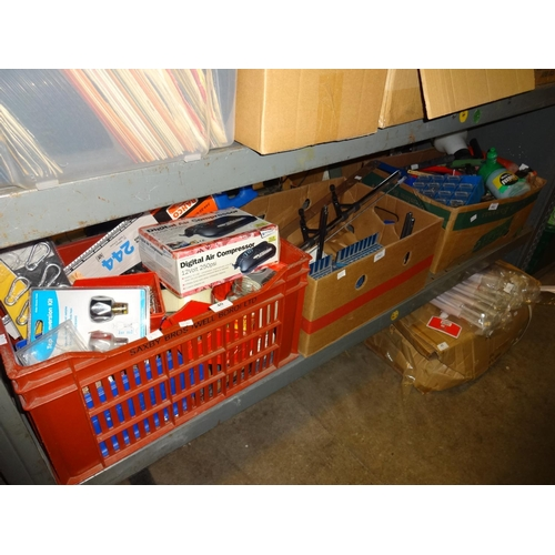 40 - Red crate and 2x boxes of assorted, nails, drill bits, impact drill, nuts plus bolts, snap hodes, ga...