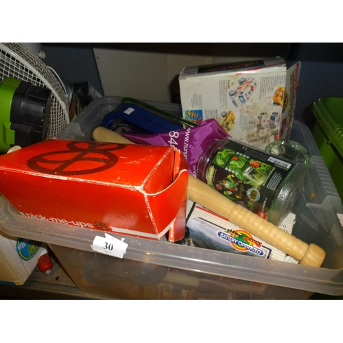 30 - Plastic box of collectables plus green glass dressing table set and other items...