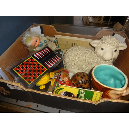 32 - Box of odds including toys and sheep...