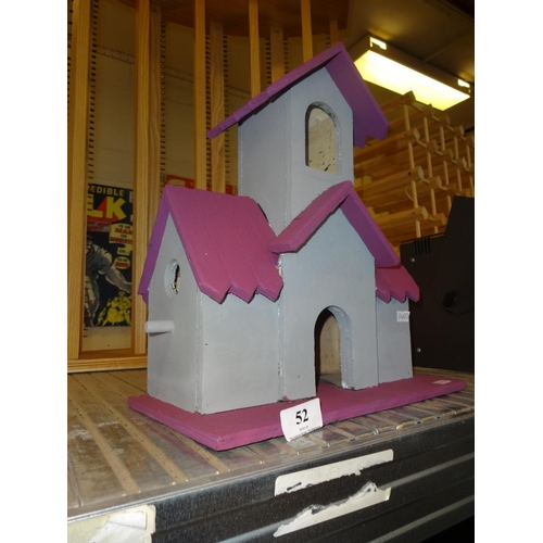 52 - (Ref 1) Grey and purple bird box/house with open arch entry...