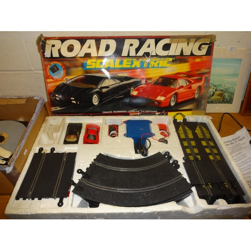 18 - Scalextric road racing - 2 cars with lots of track...