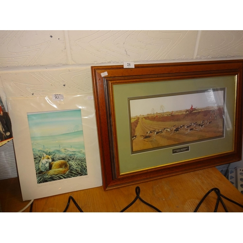21 - Local framed hunting picture plus a signed fox picture...