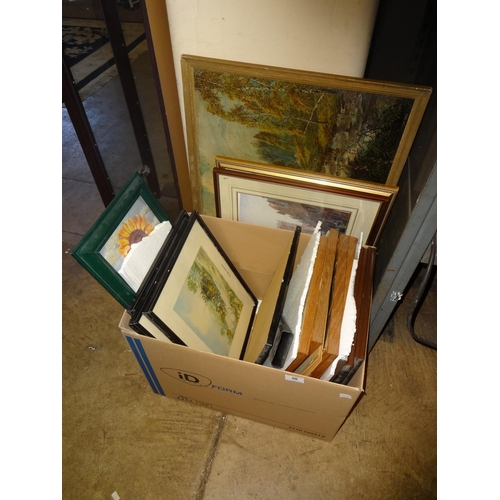 30 - Box containing 10x framed prints plus 2 pen and ink drawings...
