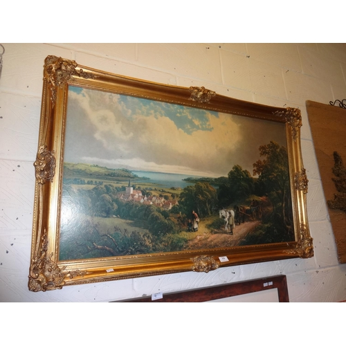 14 - Large print near Brading by Meadow in ornate frame; Some damage...