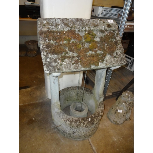 48 - Large concrete, weathered, wishing well 39