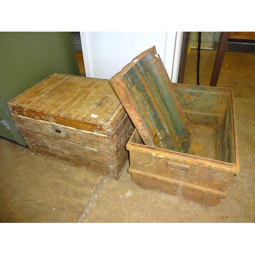 60 - Large tin trunk as found (Lid no longer attached) + Pine storage box as found...