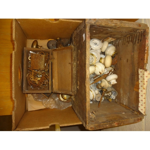 15 - Box with ceramic handles locks and a box of keys, antique and later...