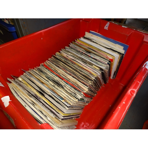 22 - Red plastic box with vinyl singles all from the 1980s...