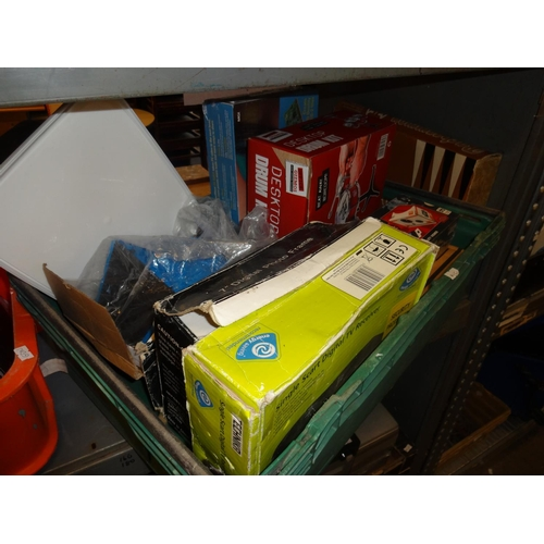 25 - Green crate of boxed items includes Technika digital tv receiver, fan blower videowave DV suite for ...