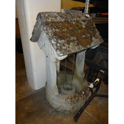 40 - Large concrete, weathered, wishing well 39