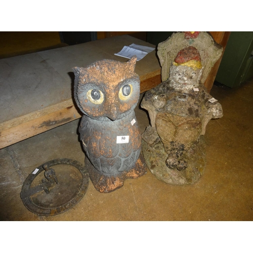 50 - Selection of garden ornaments; Large Owl, Large old man in a chair plus sundial with child sat on to...