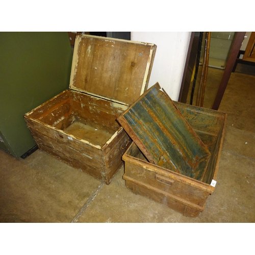 52 - Large tin trunk as found (Lid no longer attached) + Pine storage box as found...