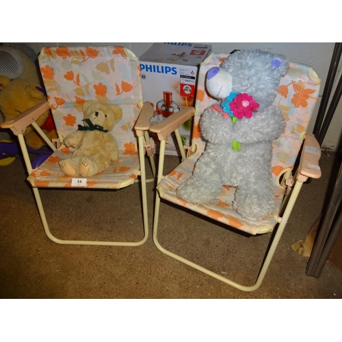 16 - Pair of 1960's childs deck chairs with two teddy bears...